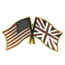 England Flag Round American Flag Lapel Pins