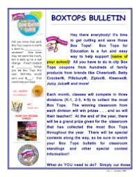 box tops newsletter pto today
