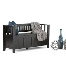 simpli home acadian black storage bench ax2370 b the home depot