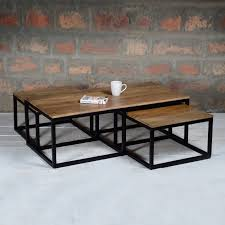 wood nesting coffee table suri modern industrial nest of coffee tables in mango wood metal