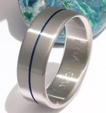 thin blue line wedding band blue titanium wedding band b34 by titaniumringsstudio on etsy