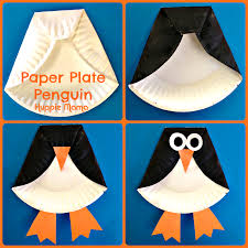 cute penguin paper plate craft for kids from huppie mama daycare