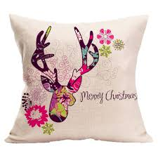 cotton linen fabric deer merry christmas totoro cushion printed