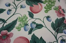 waverly wallpaper fruit and leaf design white w green pink blue 1