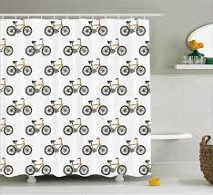 Yellow And Gray Bathroom Decor by Cartoon Shower Curtain Yellow Bicycle Pattern Bathroom Decor Ebay