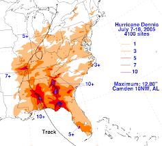 Orange Beach Florida Map by Hurricane Dennis July 10 2005