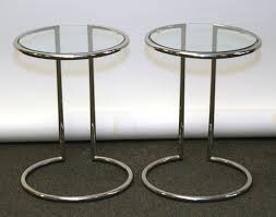 round chrome side table pair modern tube chrome round side tables with glass tops round