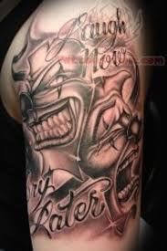 tattoo joker mask laugh now cry later mask tattoo