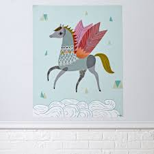 kids wall decals and stickers the land of nod pretty pegasus poster decal
