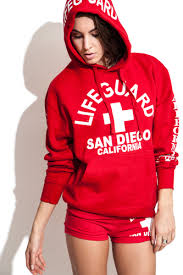 ladies red lifeguard west coast hoodie