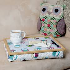 lap tray cushion owls pattern by blue badge co