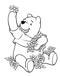 pooh bear coloring pages flowers and winnie the pooh coloring