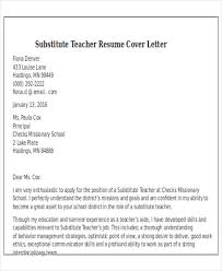 Substitute Teacher Job Duties For Resume by Outstanding Cover Letter Examples Cover Letters Substitute Teacher