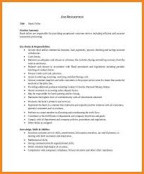 Teller Duties For Resume Bank Teller Resume Example Sample Template Job Description