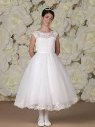 catholic communion dresses girl s communion dress tea length cap sleeves lace gown