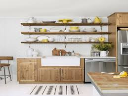 Small Kitchen Ideas Backsplash Shelves by Appliances Stained Wooden Kitchen Cabinet With White Safari