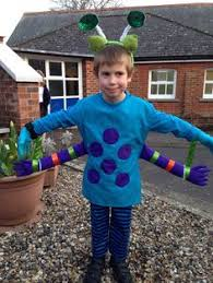 home made kids alien costume could also pass for a bug costume a