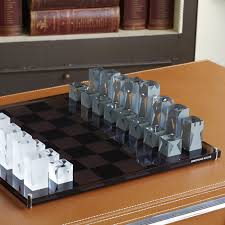acrylic gray chess set modern decor jonathan adler