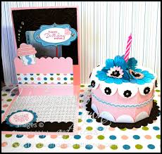 kitty stamp birthday cake box and pop up gift card holder
