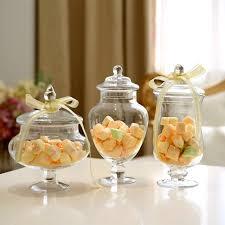 jar wedding decorations 3pcs set transparent lid storage bottle glass candy jars wedding