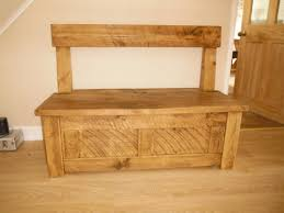 plank pine handcrafted monks bench with storage by incite