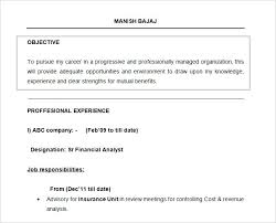 sample resume of financial analyst free doc financial analyst