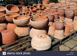 terracotta pots for sale at garden nursery stock photo royalty