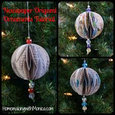 origami newspaper ornament tutorial holidays