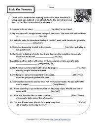 pick the pronoun pronoun worksheets