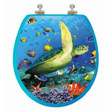TOPSEAT 3D Ocean Series Sea Turtle Round Closed Front Toilet Seat