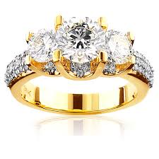 engagement rings unique 18k gold three unique diamond engagement ring 2 9ct