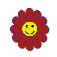 Smiley Flowers - clipart picture of a red and yellow happy face flower