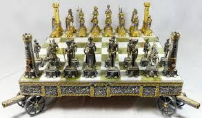 beautiful gilt metal chess set and board by giuseppe vasari it