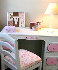 adorable bedroom decorating with white study desk and pink