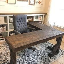 reclaimed wood l shaped desk diy l shaped farmhouse wood desk office makeover diy pinterest