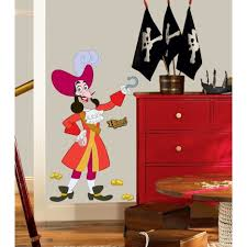 bedroom playroom decoration with pirate theme using red cabinet