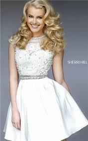 short hair sherri hill ivory sherri hill 32317 short beaded lace appliques prom dress sh