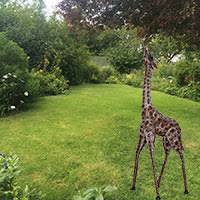 metal garden giraffe ornament large garden ornaments candle and blue