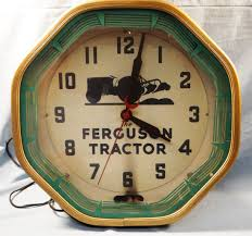 cool wall clock ferguson tractor advertising neon wall clock metal case electric