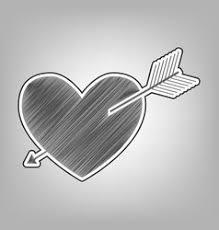 headphones with heart pencil sketch royalty free vector
