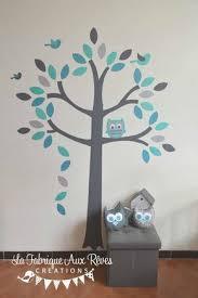 hibou chambre bébé stickers arbre turquoise pétrole gris hibou oiseaux décoration