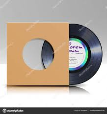 vinyl disc in a case blank isolated white background realistic