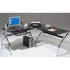 Corner Gaming Computer Desk by L Shaped Corner Computer Desk With Chrome Frame U0026 Black Glass Top