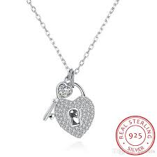 sted necklaces 925 sterling silver heart lock key cubic zirconia pendant necklace