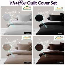 Quilted Duvet Cover King Waffle Quilt Cover Set Black White Linen Chocolate Single