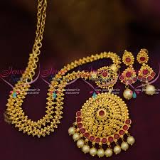 round plate necklace images Nl8722 kemp red round pendant gajri chain gold plated jewellery JPG