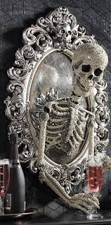 Folk Art Halloween Decorations Sorceress Skull Framed Mirror Frame Mirrors Decorating And