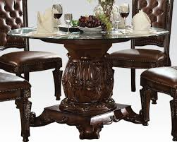 Circle Glass Table And Chairs Dining Set W Round Glass Table Vendome Cherry By Acme Ac62010set