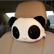 taille si e auto mignon de bande dessinée panda en peluche auto taille coussin de