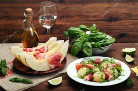 classical cuisine classical appetizer with melon and jamon tapas refined and